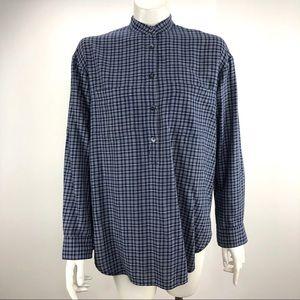 Madewell J Crew Button Mandarin Shirt Top Blue XS